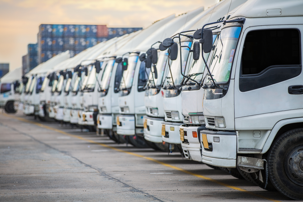 Line up of refrigerated truck